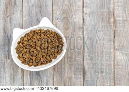 Cat Head Shaped Bowl Is Filled With Dry Food On The Floor Background, Copy Space. Domestic Animals P