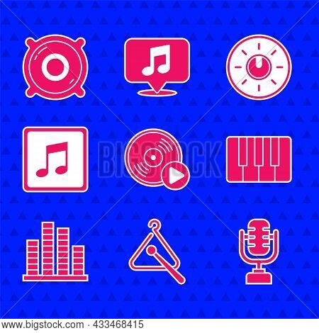 Set Vinyl Disk, Triangle Musical Instrument, Microphone, Music Synthesizer, Equalizer, Note, Tone, D