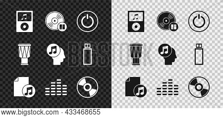 Set Music Player, Vinyl Disk, Power Button, Book With Note, Equalizer, Cd Or Dvd, Drum And Musical H