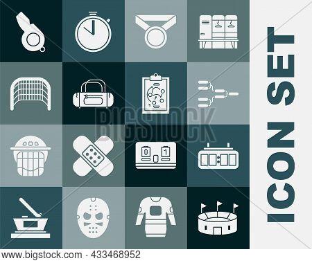 Set Hockey Stadium, Mechanical Scoreboard, Championship Tournament Bracket, Medal, Sport Bag, Ice Ho