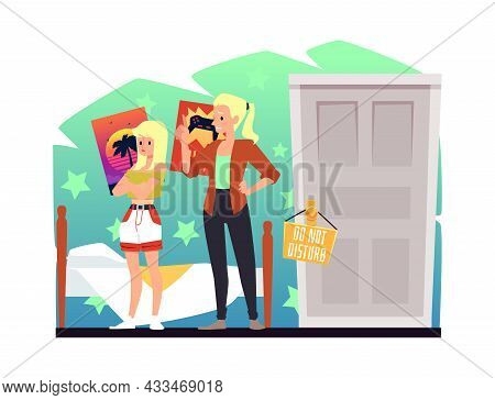 Mother Has Unpleasant Conversation With Daughter, Vector Illustration Isolated.