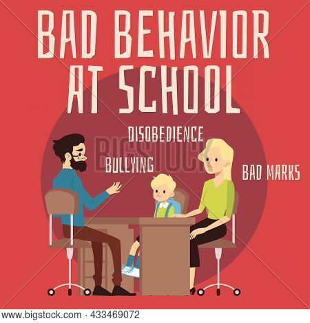 Family Discussing With Psychologist Kids Bad Behavior, Flat Vector Illustration.