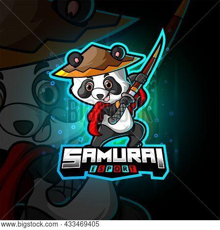 The Cute Samurai Panda Esport Logo Design Of Illustration