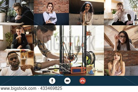 Group Of 8 Multiethnic Students Studying Science By Group Video Call, Use Video Conference With Each