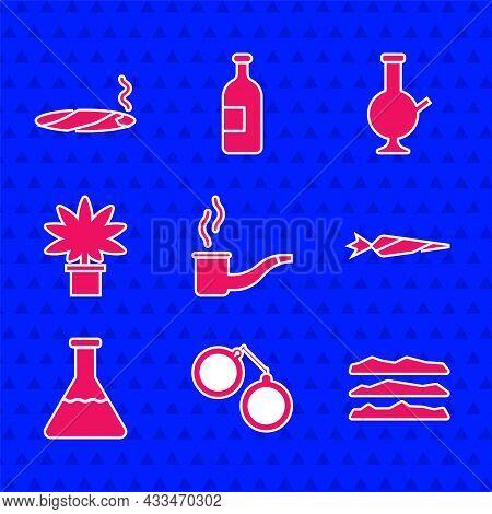 Set Smoking Pipe, Handcuffs, Cocaine Or Heroin Drug, Marijuana Joint, Test Tube Flask, Cannabis Plan