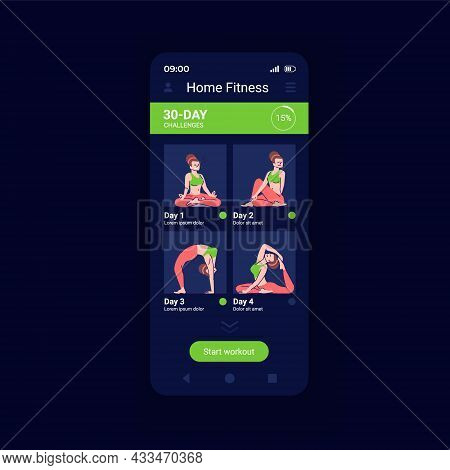 Home Sport Activities App Smartphone Interface Vector Template. Mobile App Page Design Layout. Fitne