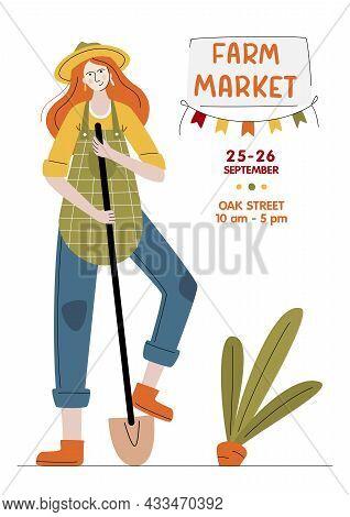 Farm Market Banner. Farmer Woman With Shovel In Modern Style. Harvest Festival Or Eat Local Concept.