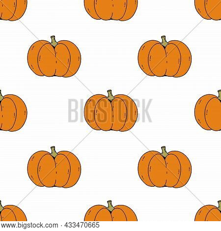 Seamless Pattern With Cute Pumpkin Doodle Style. Autumn Harvest. Background For Sewing Children Clot