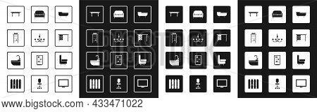 Set Bathtub, Chandelier, Bathroom Rack With Shelves For Towels, Wooden Table, Office Desk, Sofa, Arm