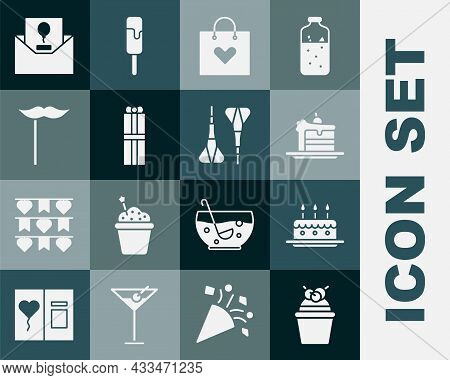 Set Cake, With Burning Candles, Shopping Bag Heart, Gift Box, Paper Mustache On Stick, Invitation An