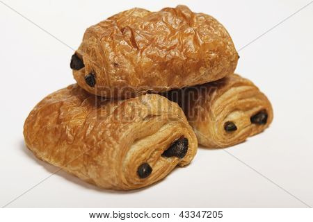 two times croissant with chocolate