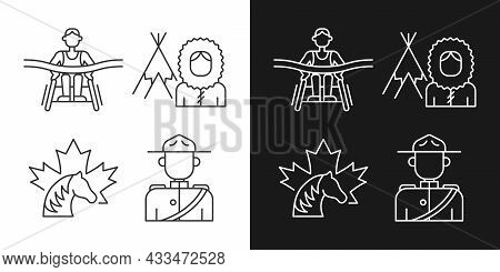 People Of Canada Linear Icons Set For Dark And Light Mode. Mounted Police Uniform. Inuit Nationality