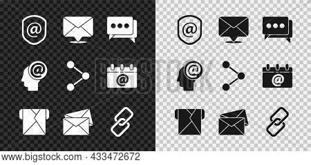 Set Shield With Mail And E-mail, Envelope, Speech Bubble Chat, Chain Link, Mail And Share Icon. Vect