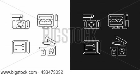 Dental Devices Linear Icons Set For Dark And Light Mode. Lightening Oral Cavity. Intraoral Camera. C