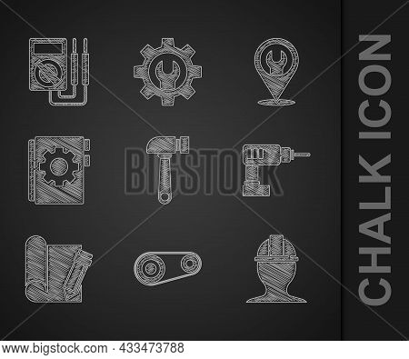 Set Hammer, Timing Belt Kit, Worker Safety Helmet, Electric Drill Machine, Graphing Paper And Pencil