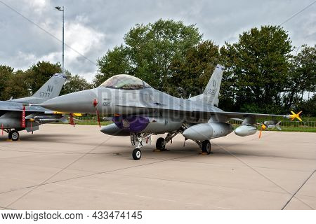 Us Air Force F-16c Viper Fighter Jet From Aviano Air Base On The Tarmac Of Leeuwarden Airbase. Nethe