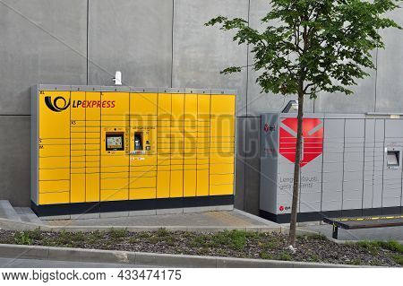 Vilnius - September 09: Lt Post Express Terminal For Automatic Parcel Delivery With Many Drawers For