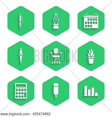 Set Office Chair, Marker Pen, Pie Chart Infographic, Plant Pot, Calculator, Push Pin, Calendar And P