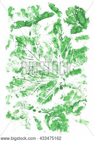 Colorful Green Background Painted By Brush With Imprinted Leaves Pattern. Gouache Painting.