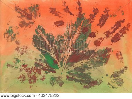 Colorful Background Painted By Brush With Imprinted Leaves Pattern. Watercolor And Gouache Painting.