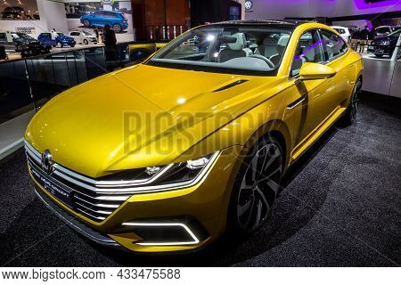 Volkswagen Sport Coupe Concept Gte Car Showcased At The Brussels Expo Autosalon Motor Show. Belgium