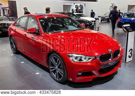 Bmw 3 Series Berline Car Showcased At The Brussels Expo Autosalon Motor Show. Belgium - January 12,