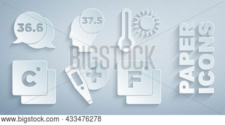 Set Digital Thermometer, Meteorology, Celsius, Fahrenheit, High Human Body Temperature And Medical I