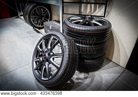 New Modern Car Sport Rims And Tyres At The Brussels Expo Autosalon Motor Show. Belgium - January 19,