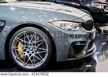 Bmw M4 Coupe Telesto Car Showcased At The Brussels Expo Autosalon Motor Show. Belgium - January 19,