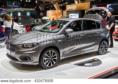 Fiat Tipo Car Showcased At The Brussels Expo Autosalon Motor Show. Belgium - January 19, 2017
