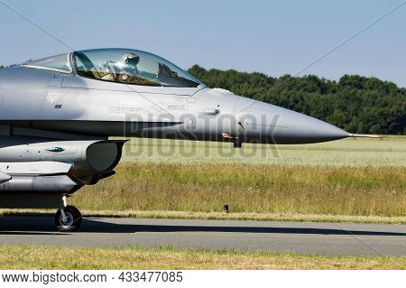 Belgian Air Force F-16 Fighter Jet Plane Taxiing To The Runway At Florennes Air Base, Belgium - June
