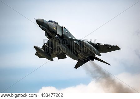 Greece Air Force F-4 Phantom Ii Fighter Jet In Flight Over Florennes Air Base, Belgium - June 15, 20