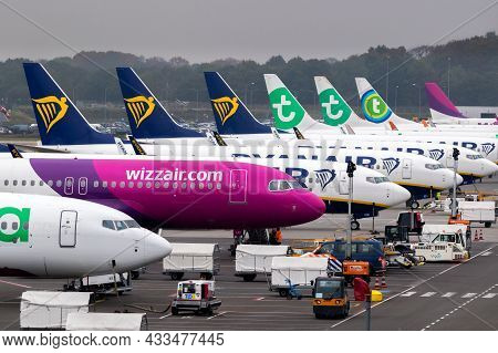 Low-cost Airline Passenger Planes On The Tarmac Of Eindhoven Airport. The Netherlands - October 25,