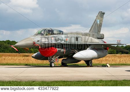 Hellenic Air Force (greece) F-16d Fighting Falcon Fighter Jet At Volkel Air Base. The Netherlands -
