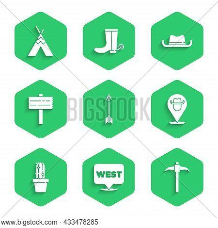 Set Crossed Arrows, Pointer To Wild West, Pickaxe, Location Cowboy, Cactus Peyote Pot, Road Traffic