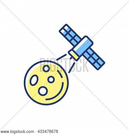 Moon Observation Process Yellow Rgb Color Icon. Lunar Surface Research Mission By Artifial Satelite.