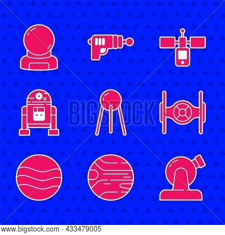 Set Satellite, Planet, Astronomical Observatory, Cosmic Ship, Robot, And Astronaut Helmet Icon. Vect