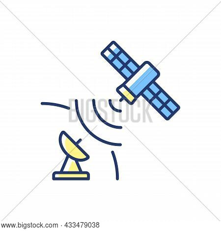 Satellite Signal Blue, Green Rgb Color Icon. Telecommunications Network. Signal Receiving Dish Satel