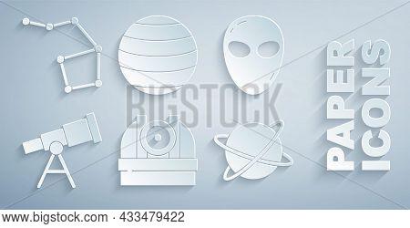 Set Astronomical Observatory, Alien, Telescope, Satellites Orbiting The Planet, Planet Venus And Gre