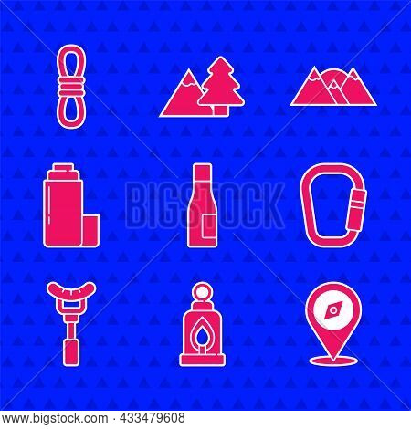 Set Bottle Of Water, Camping Lantern, Compass, Carabiner, Sausage On The Fork, Thermos Container, Mo