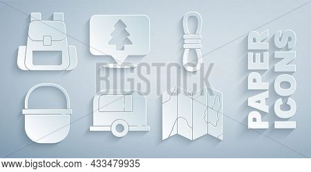 Set Rv Camping Trailer, Climber Rope, Pot, Location Of The Forest On Map, And Hiking Backpack Icon.