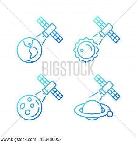 Celestial Bodies Observation Gradient Linear Vector Icons Set. Heliophysics Science Investigations.