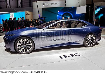 Lexus Lf-lc Future Luxury Coupe Concept Car Showcased At The Geneva International Motor Show. Switze