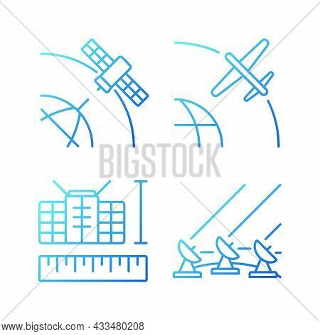 Satellite Technologies Gradient Linear Vector Icons Set. Ground Satellite System. Geostationary, Dro
