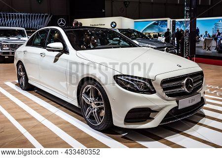 Mercedes Benz E 220d Car Showcased At The Geneva International Motor Show. Switzerland - March 1, 20