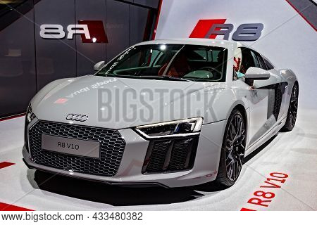 Audi R8 V10 Sports Car Showcased At The Geneva International Motor Show. Switzerland - March 1, 2016
