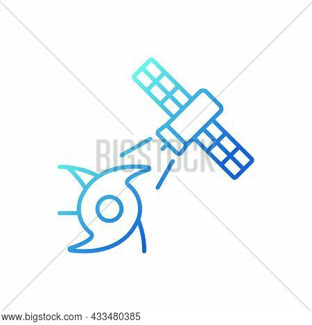 Weather, Climate Monitoring Satellite Gradient Linear Vector Icon. Meteorological Observation System