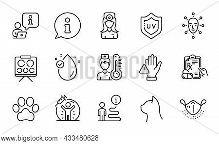 Healthcare Icons Set. Included Icon As Dog Paw, Prescription Drugs, Dont Touch Signs. Vision Board,