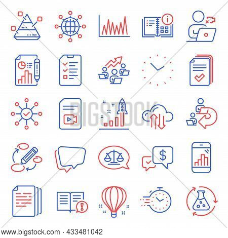 Education Icons Set. Included Icon As Speech Bubble, Video File, Keywords Signs. Graph Phone, Facts,