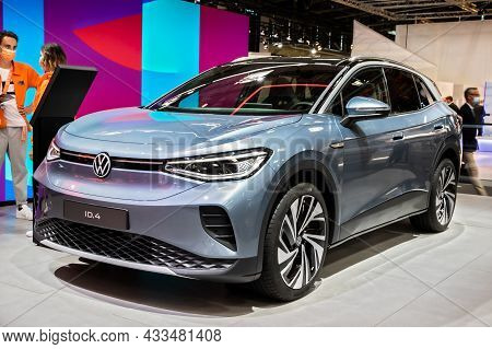 Volkswagen Id.4 All-electric Suv-coupe Car Showcased At The Iaa Mobility 2021 Motor Show In Munich,